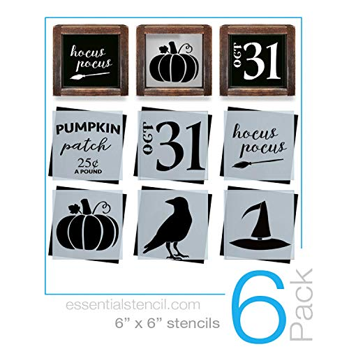 Reusable Halloween Sign Stencils for Painting on Wood | 6 Pack | Ideal for Wood Signs, Walls, Furniture (DIY Halloween Decor)