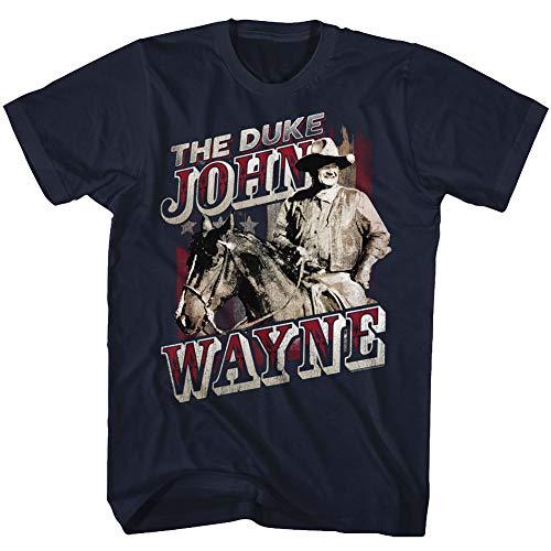 John Wayne American Legend Hollywood Actor The Duke on Horse Adult T-Shirt Tee Navy ()