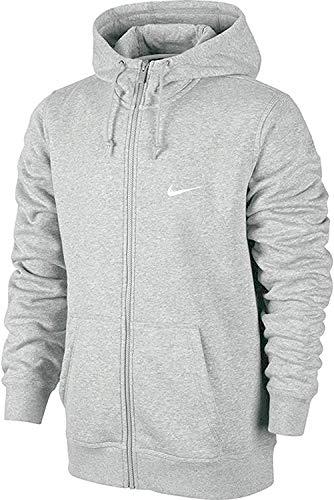 Nike Mens Club Swoosh Full Zip Hoodie, Grey Heather, Small