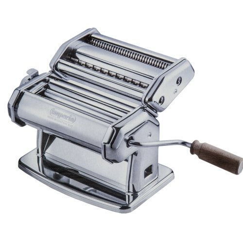 Imperia Pasta Maker Machine - Heavy Duty Steel Construction w Easy Lock Dial and Wood Grip Handle- Model 150 Made in Italy Double Cutter Pasta Machine