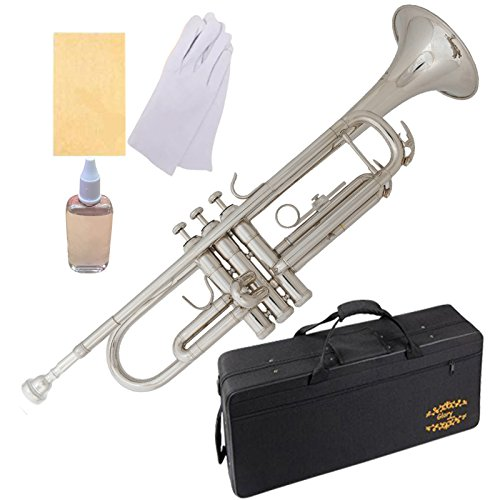 Glory Brass Bb Trumpet with Pro Case +Care Kit, Nickel Silver, More COLORS Available ! CLICK on LISTING to SEE All Colors by GLORY
