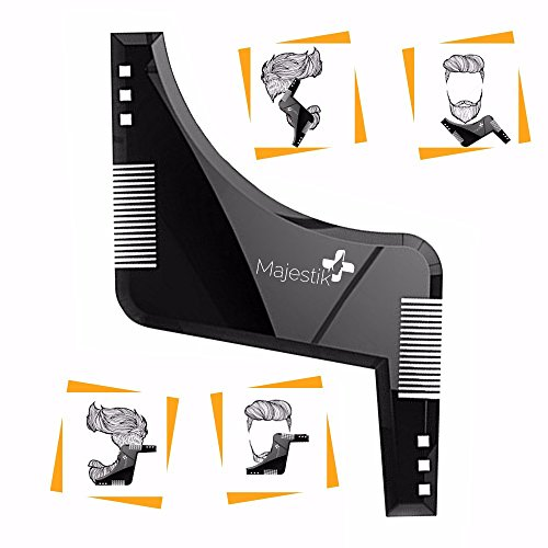 Majestik+ The Beard Styling Template- Stencil For Men - Lightweight And Flexible - One Size Fits All - Curve Cut, Step Cut, Neckline & Goatee Beard Shaping Tool In Black