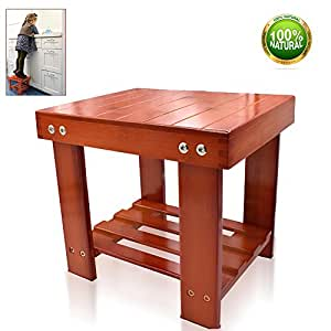 Bamboo Step Stool for Kids Adult Small Size Toddlers Seat Storage Shelf Bench for Bathroom Kitchen RV Living Room Bedroom Durable Anti-Slip Lightweight Muti Purpose Women and Adults
