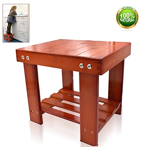Bamboo Step Stool For Kids Children Adults Durable Anti-Slip Lightweight Wooden Stool With Storage Shelf Multifunctional Small Size Toddlers Seat Bench for Bathroom Kitchen Living Room Bedroom by HYNEWHOME