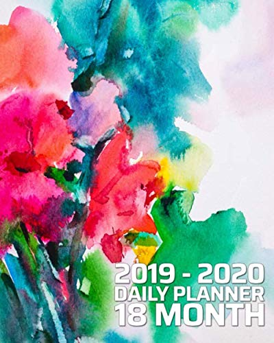 18 Month Daily Planner: June 2019 - December 2020 | Pretty Abstract Floral Watercolor 18 Month Daily Organizer Calendar Agenda | 8x10 | For work, ... Notes (Pretty Daily and Monthly Planner)
