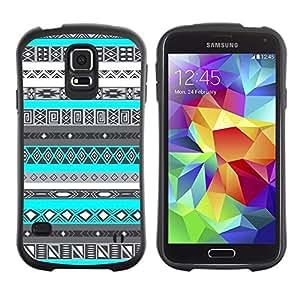 Paccase / Suave TPU GEL Caso Carcasa de Protección Funda para - Pattern Black White Native Indian - Samsung Galaxy S5 SM-G900