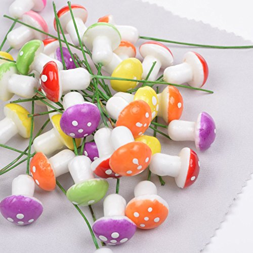Adecco-LLC-Pack-of-50pcs-2cm-Mini-Artificial-Mushroom-for-Flower-Pots-Plant-Boxes-Containters-Planters-Decoration-Microlandschaft-Decorative-AccessoriesMix-color