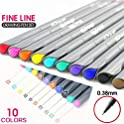 10-Pieces Disanot 0.38MM Fine Liner Colored Marker Pens