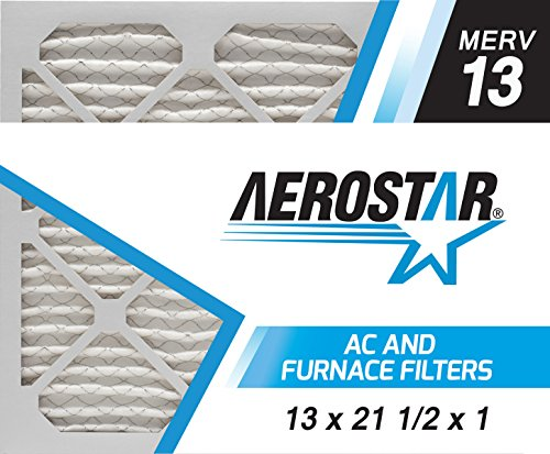 Aerostar 13x21 1/2x1 MERV 13, Pleated Air Filter, 13 x 21 1/2 x 1, Box of 6, Made in The USA
