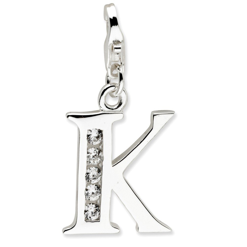 Sterling Silver Solid Polished Rhodium-plated Not engraveable Fancy Lobster Closure Cubic Zirconia Letter K With Lobster Clasp Charm - Measures 24x12mm