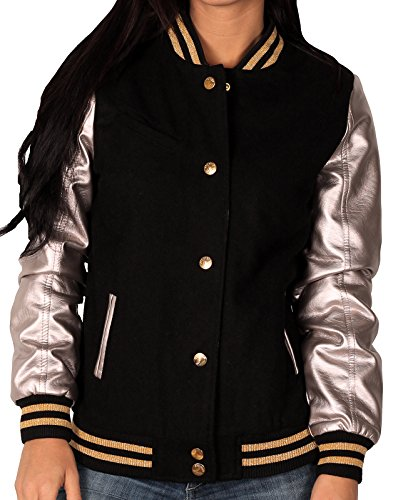 Varsity Leather Wool Jacket - Sportier Junior Wool Blend Varsity Jacket With Faux Leather Sleeves, Black/Silver, Size XL