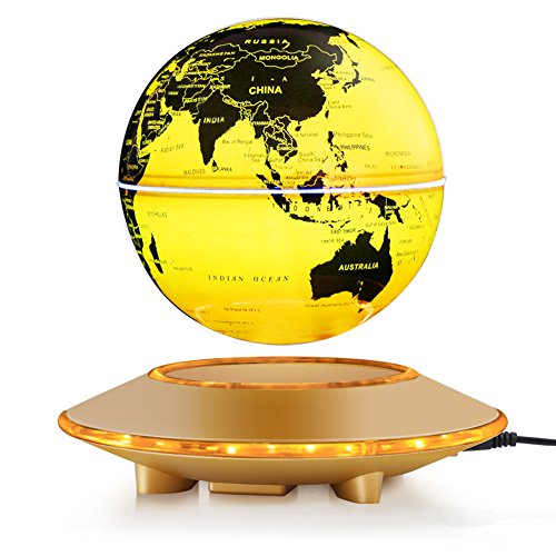 Floating Desktop Globe (Magnetic Floating Globe, Levitation Rotating Ball LED Illuminated World Map Earth for Desktop Office Home Decor Kids Education (Gold, 6'' Globe))