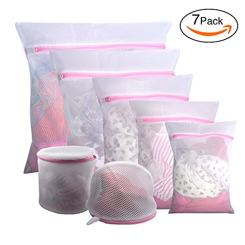 Gogooda 7Pcs Mesh Laundry Bags for Delicates with Premium Zipper, Travel Storage Organize Bag, Clothing Washing Bags for Laundry, Blouse, Bra, Hosiery, Stocking, Underwear, Lingerie Bra Washing Bag