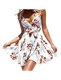 HHmei Women Sexy V-Neck Sleeveless Dresses, Floral Boho Sexy Off Shoulder Dress