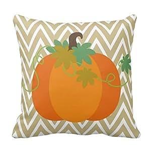 Vincent Vivi Home Pillow Cases Fall Pumpkin Chevron Zigzag Pattern Throw Pillow Case