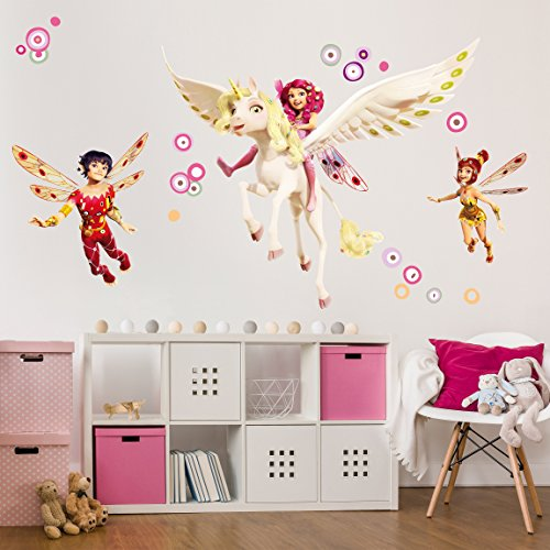 Wall Decal Mia and Me - Mia Yuko and Mo Nursery girl unicorns wall tattoo wall stickers wall tattoos wall decals; Dimensions: 14.6 x 17.7 (Dimension Glass Tile Series)