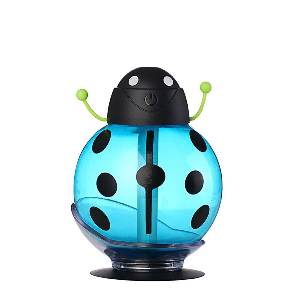 ミニUSB加湿器甲虫ナイトライトホームオフィスエアディフューザー(ブルー) niomou   B07PVF15HN