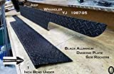 "Fits JEEP YJ Wrangler 6"" black Diamond plate Rocker Panels with / 90° 1 inch lip"