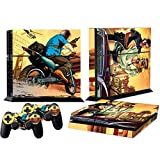 Mod Freakz Console and Controller Vinyl Skin Set - Motorcycle Car Chase for Playstation 4