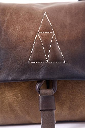 Handmade Brown Leather and Beeswax Canvas Medium Backpack, Stylish Unisex Rucksack