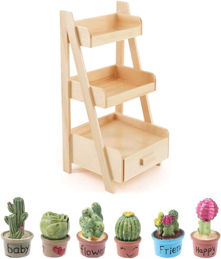 Haomian Doll House Simulation Flower Stand 1:12 Scale Dollhouse Mini Wood Shelf Flower Stand Doll House Furniture Model Toy Fairy Garden Accessory with 6 Pcs Dollhouse Miniature Plants
