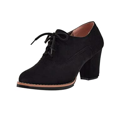 67593e2a44 Amazon.com: Nevera Women Solid Lace-Up High Thick Square Flock Ankle Boots  Round Toe Shoes: Clothing