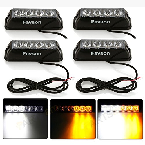 Favson 4 LED Strobe Lights for Trucks Cars Van with High Intensity White&Yellow Emergency Flasher (4pcs) ()
