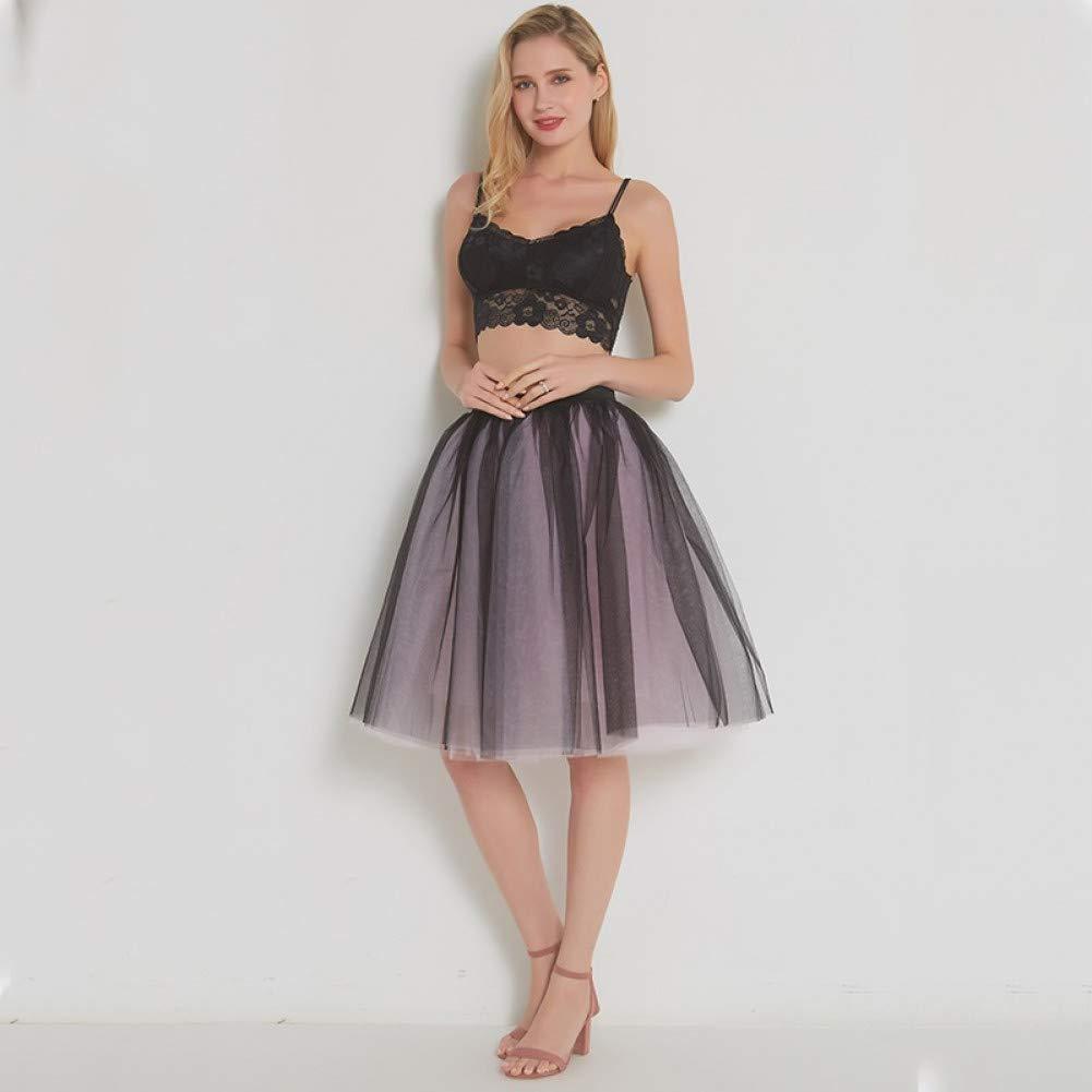 Black pink WHFDBZQ Mesh Pleated 7 Layers Dance Tulle Skirt Fashion Tutu Skirts Womens Petticoat Elastic Belt Lolita