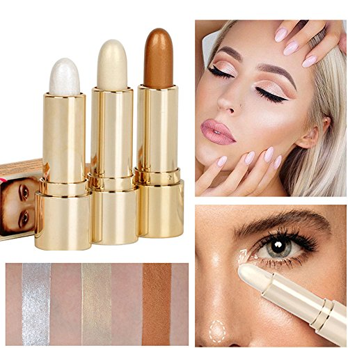 Bronzing Stick (SHERUI 3pcs Face Makeup Foundation Highlighter Concealer maquiagem Cream Shimmer Highlight Stick Shimmer Contour Bronzing Cream)