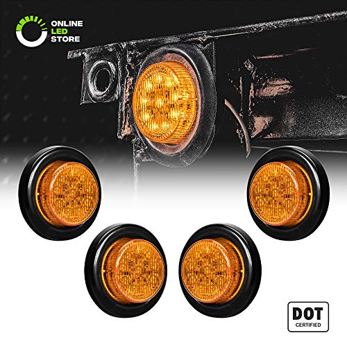 "4PC 2"" Round 10 LED Light [2 in 1 Reflector] [Polycarbonate Reflector] [10 LEDs] [D.O.T. Certified] [2 Year Warranty] Side Marker Light for Trucks and Trailers - Amber"