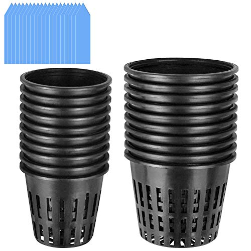 - 20-Pack - 2 Inch 3 Inch Net Cups with 20 Pcs Plant Labels, Garden Slotted Mesh Heavy Duty Net Pots Wide Lip Design for Hydroponics