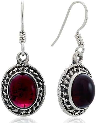 925 Oxidized Sterling Silver Natural Gemstone Oval Rope Edge Vintage Dangle Hook Earrings 1.3