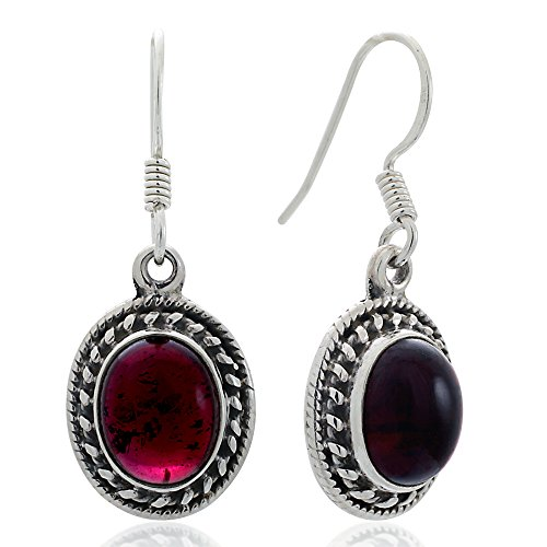 (925 Oxidized Sterling Silver Red Garnet Gemstone Oval Rope Edge Vintage Dangle Hook Earrings 1.3