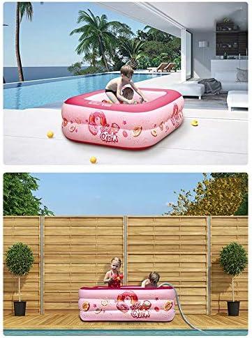Familien-Innen- und Außenpool für Erwachsene Kinder-Planschbecken Baby Rechteckiger Pool Elektrische Luftpumpe für schnelles Aufblasen und Entleeren, 210 cm