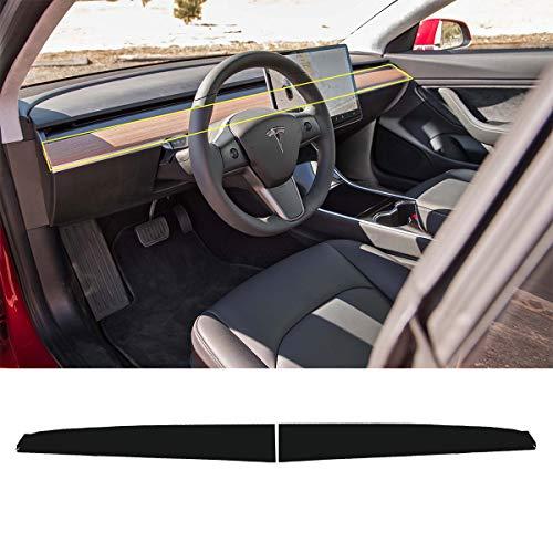 Tesla Model 3 Dashboard Wood Wrap Cover Stickers Interior Matrix Black Vinyl Wrap Kit(Black Dashboard Sticker) … (Dashboard Wood)