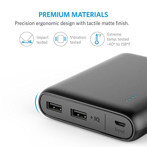 Anker PowerCore 13000 compact Charger in size 13000mAh 2 Port super compact cel Charger ability Bank by using PowerIQ and VoltageBoost know-how for iPhone iPad Samsung Galaxy Black External Battery Packs