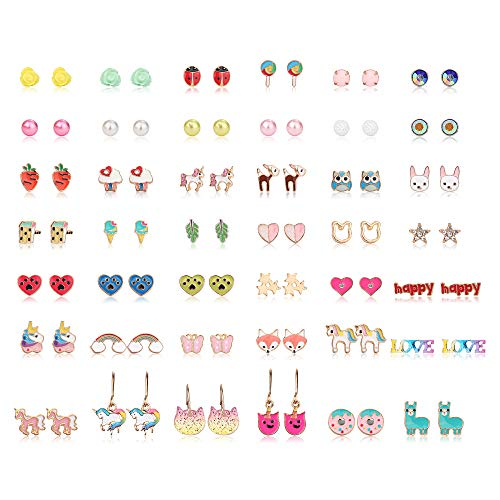 Earrings For Kids (Hanpabum 42 Pairs Stainless Steel Earrings for Girls Women Flower CZ Animals Heart Ice Cream Colorful Cute Stud Earrings)