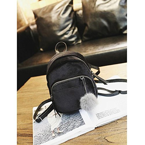 with Backpack Girls Design Simple Casual Purse Backpack Velvet Ball HARRYSTORE Fashion Black Daypack Women School Fur for OAwnfq7F