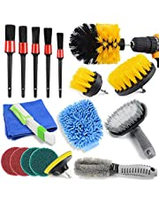 18 stuks boorborstels, bevestigingsschrobber-reinigingsset, autodetaillerend, borstelopzetstuk, boormachine, wielreinigingsborstel, reinigingsborstelset (A)