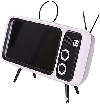 PTH800 Retro TV Bluetooth Altavoz inalámbrico Soporte para teléfono, Mini Altavoz portátil Bluetooth Diseño de TV Soporte para teléfono móvil Radio FM Retro 90S (Gris-Plata): Amazon.es: Electrónica