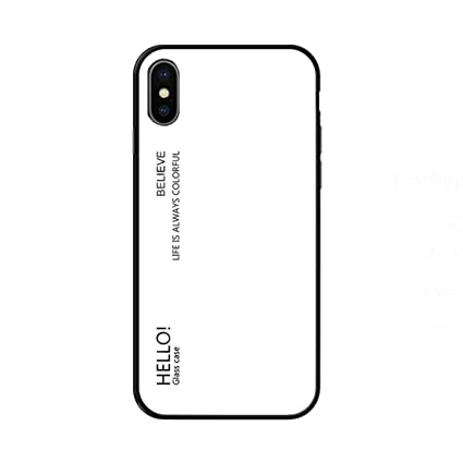 best service 86511 7508e Amazon.com: LGYD Gradient Color Glass Case for iPhone X/XS (Black ...