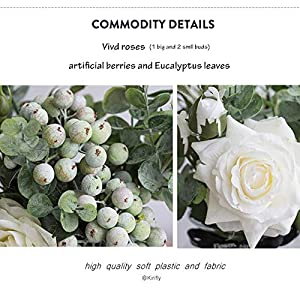 Kirifly Artificial Flowers Silk Roses Fake Plants Eucalyptus Leaves Berries Flower Arrangements Wedding Bouquets Decorations Floral Table Centerpieces Plastic Indoor Faux Plants Décor(White) 3
