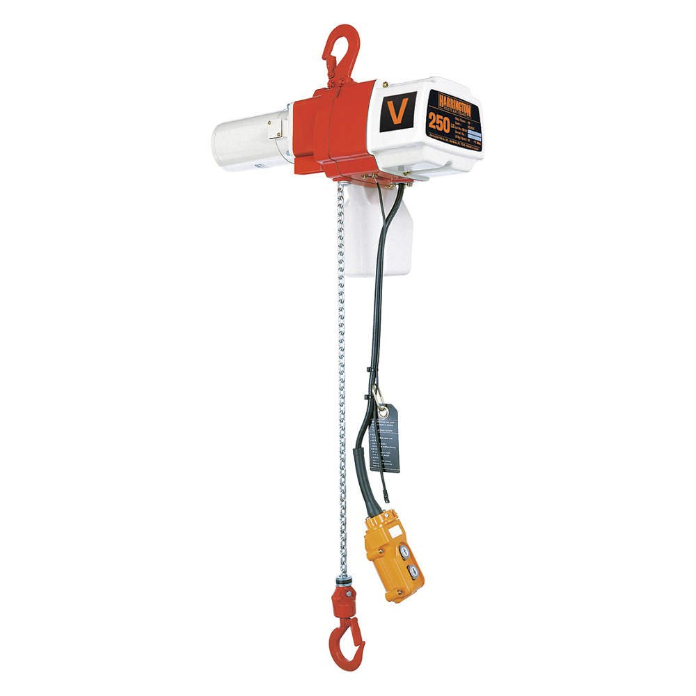Harrington Hoists - ED500V-15 - H2 Electric Chain Hoist, 500 lb. Load Capacity, 120V, 15 ft. Hoist Lift, 16/44 fpm