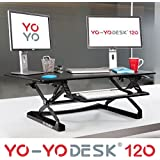 Yo-Yo Desk®120(BLACK) - Best Selling Height Adjustable Standing Desk [120cm Wide]. Superior sit-stand solution suitable for all workstations and standing desk workplaces.