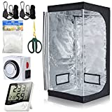 BloomGrow Hydroponics 32''x32''x63'' 600D Mylar Indoor Plant Grow Tent + Digital Hygrometer Indoor