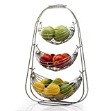 DRROT Fruit Basket Stand 3 Tier Fr Large Capacity-Modern Kitchen Countertop Storage