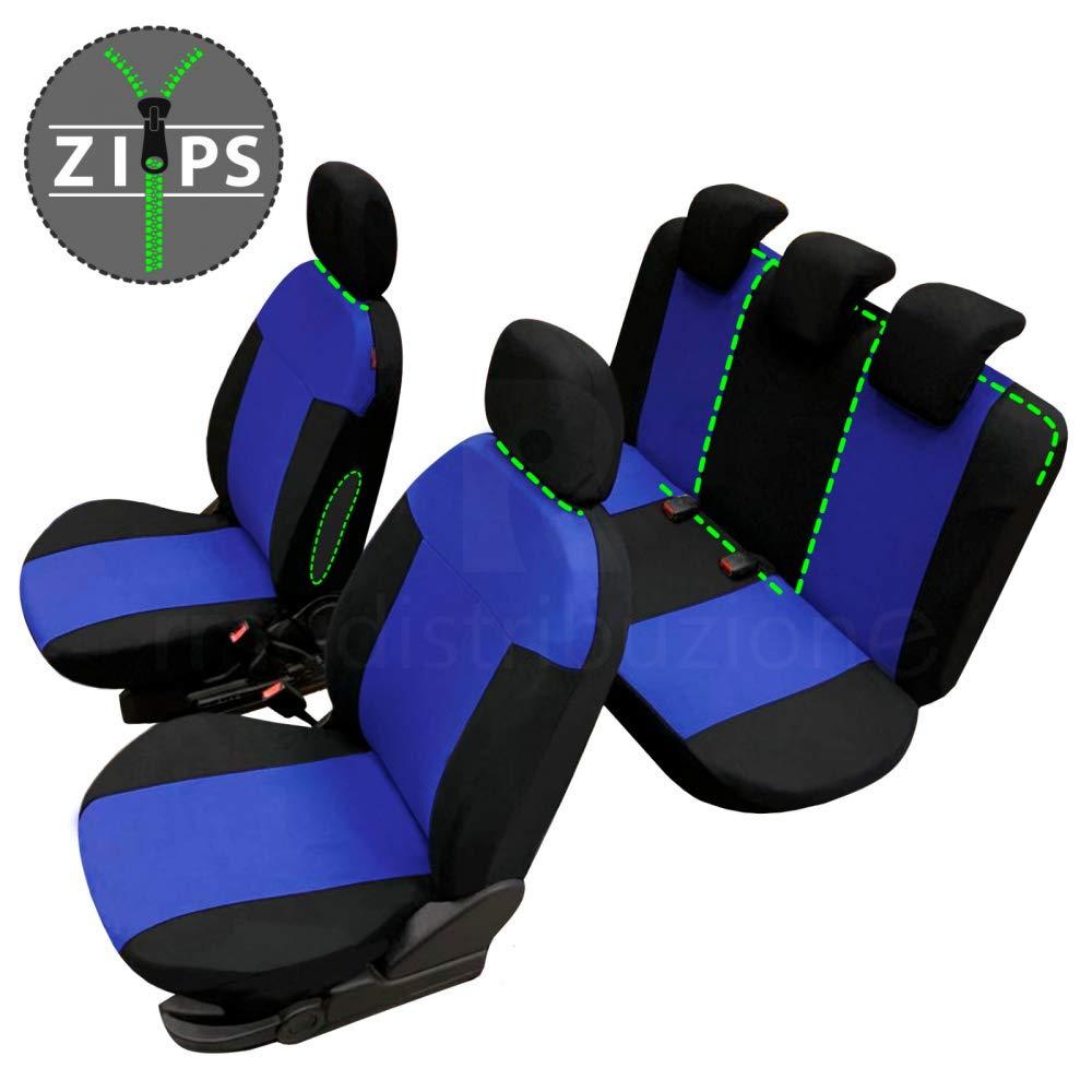 2017 - in Poi rmg-distribuzione Coprisedili per C3 Versione bracciolo Laterale sedili Posteriori sdoppiabili Colore Nero Grigio R18S0109 compatibili con sedili con airbag