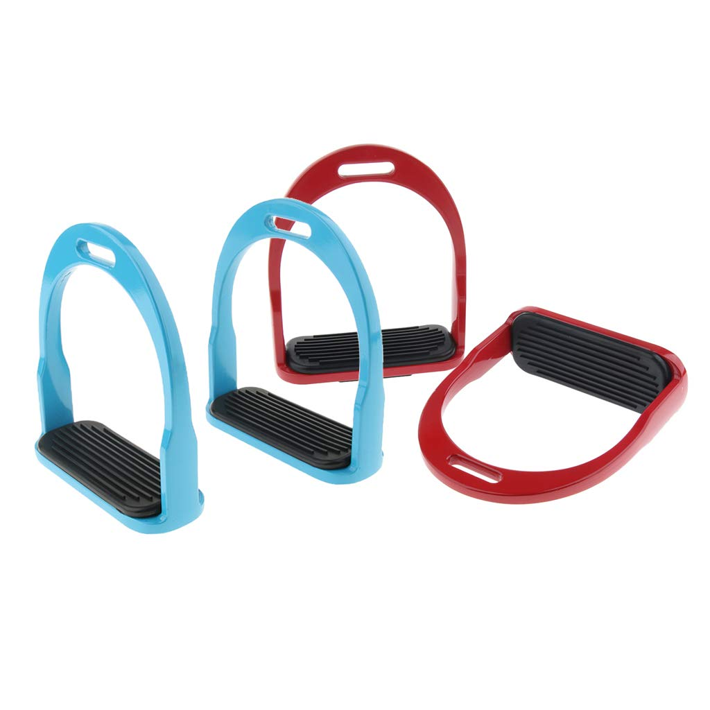 Red bluee D DOLITY 2 Pair Equestrian Western Horse Saddle English Lightweight Aluminum Stirrups with Foot Pad