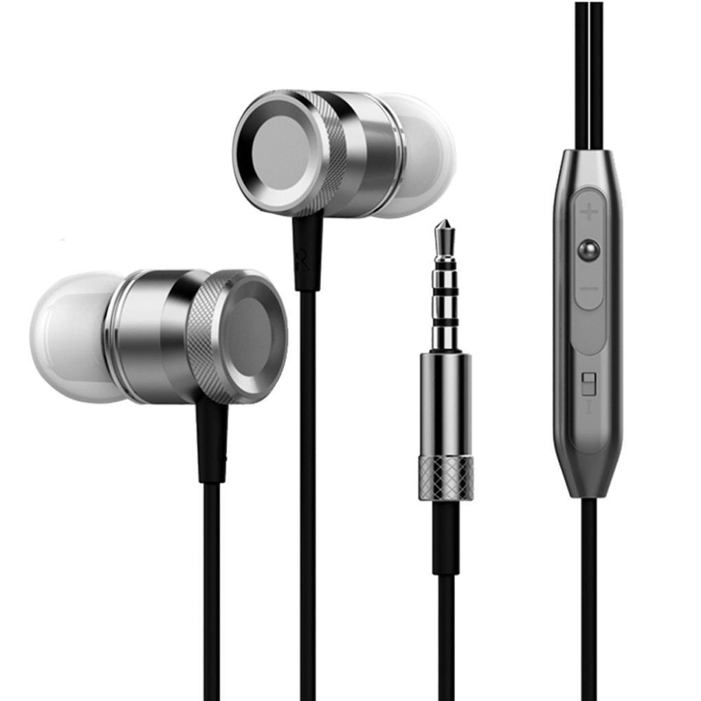 Headset,Sunfei 3.5mm With Microphone Bass Stereo In-Ear Earphones Headphones Headset Earbuds (❤️Dark Gray❤️)