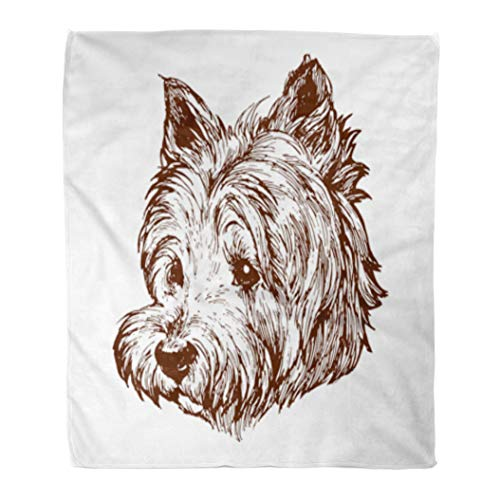 - Golee Throw Blanket Blue Westie West Highland White Terrier Dog Portrait on Stock 50x60 Inches Warm Fuzzy Soft Blanket for Bed Sofa